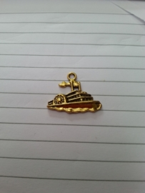 Boot, goud- of zilverkleurig ....radarboot ca 2,5 x 2 cm