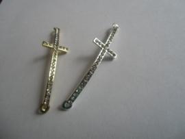 Kruis, tussenzetsel met strass, goudkleur of silverplated