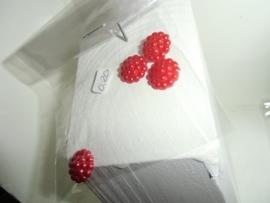 Flatback's met bolletjes in zakje voor 0,20 euro. rood