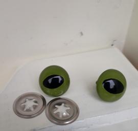 Veiligheidsogen , kattenogen groen  18 mm met metalen achterkant