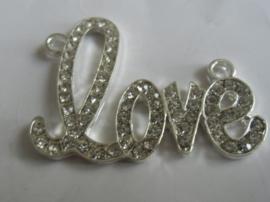 Love met strass, goud- of zilverkleur met kristal