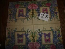 Servet 28- vlinders en bloemen