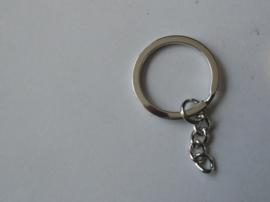 Sleutelring met ketting metaal 25 mm, Nikkel