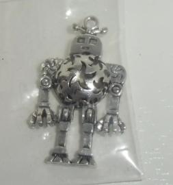 Robot, mooie bewerkte metalen bedel, ca. 3,9 cm