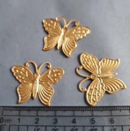 Vlinder, bedel mat goud kleur= nikkelvrij , 184