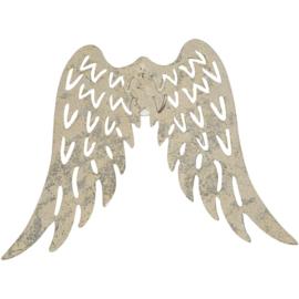 Vleugels metaal ca 7,5 x 6 cm, zilverkleurig