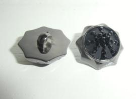 Knoop- kunststof - zwart-achthoek met plaksteen met strass