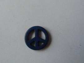 Vrede / Peace teken,  Blauw.natuursteen kraal,