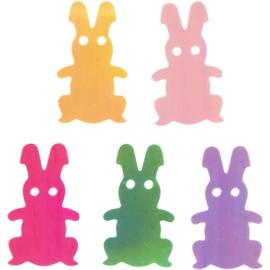 Pailletten 'Paashaas' van plasic in 5 verschillende kleuren. . l: 20 mm, b: 12 mm