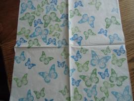 Servet 37 -vlinders, groen-blauw.