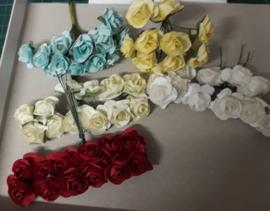 paper flowers, papieren bloemen, bosjes van 6 stuks