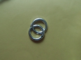 Trouwringen 2 in elkaar, zilverkleurig