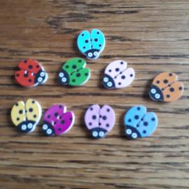 Houten knoop, Lieverheersbeestje 16 x 18 mm mix kleuren