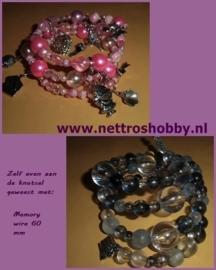 Memory Wire- Metalen armband spiraal met 10 windingen.Ca 60 mm-