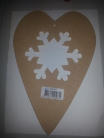 MDF Hart met sneeuwvlok.
