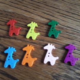 Houten knoop, giraf  25 x 17 mm, mix kleuren