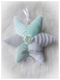 Muziekster van JB Crochet Design & Creations mint grijs wit