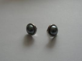 Parelmoer met ring, ca 12 mm. Bruin