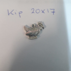Kip, metalen bedel 20 x 17 mm