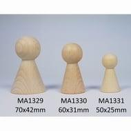 Kegelpopje breed 60 x 31mm. Blank hout
