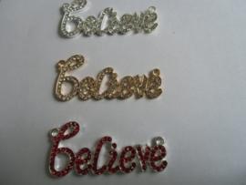 Believe, kristal- goudkleurig/zilverkleurig en Rood