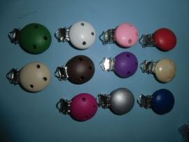 Speen- of bretelclip, hout, diversen kleuren. doorsnee 30 mm
