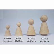 Kegelpopje kegelvorm   38 x 22 mm met nekje  Blank hout