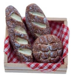 Broodmand met broden miniatuur 4 x 3 x  2 cm, Stafil 3396-291