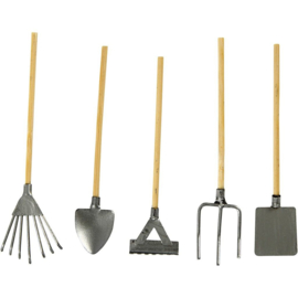 tuingereedschap Metalen met houten handvat - verschillende gereedschappen . . l: 11 cm