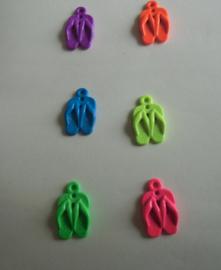 Teenslippers- fluor blauw-paars-oranje-geel-groen-roze