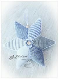 Muziekster van JB Crochet Design & Creations blauw grijs wit
