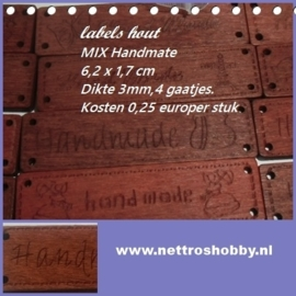 Handmade Label Flatback hout , met tekst HANDMADE, mix