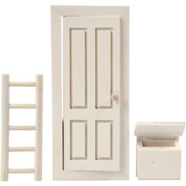 deur,, kabouter, pop, beer, muis afm 8x18 cm, triplex, 1set