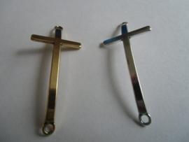 Kruis, tussenzetsel zilver- of goudkleurig- 55 x 24 mm