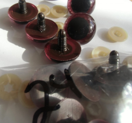 Veiligheidsoogjes bruin zwart  12-13-14-15 mm. met plastic achterkantje.