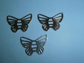 Vlinder, tussenzetsel 26 x 37 mm, diversen kleuren
