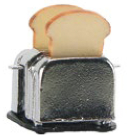 Miniatuur, broodrooster, zilverkleur Stafil ca 1,5 cm