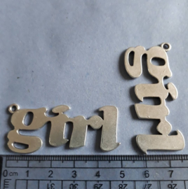 tekst GIRL, bedel metaal, groot Antiek zilver kleurig, 514
