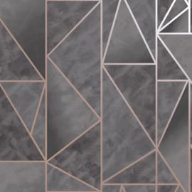 Dutch Wallcoverings Utopia behang Charon Charcoal Rose Gold 91142
