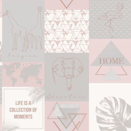 Dutch Wallcoverings Utopia behang Adventure Pink Grey 91160