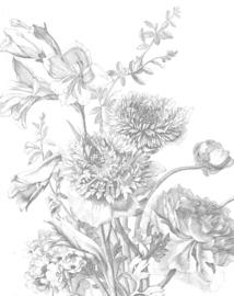 KEK Amsterdam Engraved Flowers Wallpaper Panel PA-013