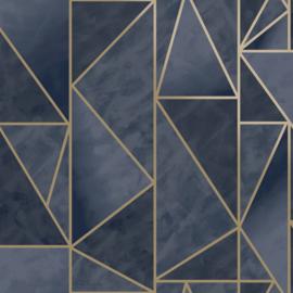 Dutch Wallcoverings Utopia behang Charon Navy Gold 91143