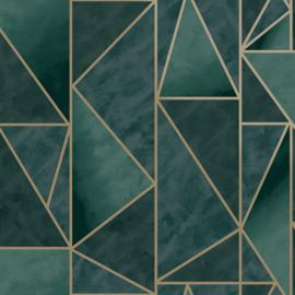 Dutch Wallcoverings Utopia behang Charon Teal Gold 91141