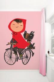 KEK Amsterdam fotobehang kinderen Op de fiets roze