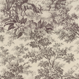 Little Greene behang Stag Toile - Chocolat