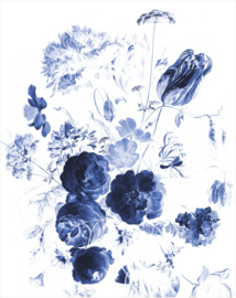 KEK Amsterdam Royal Blue Flowers Wallpaper Panel PA-041