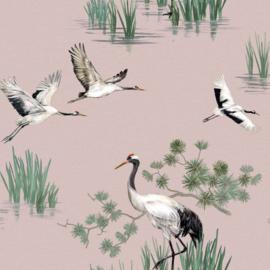 Dutch Wallcoverings Utopia behang Heath Crane Pink 91153