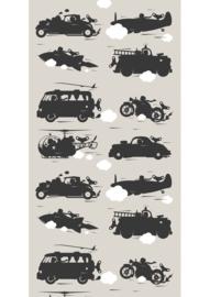 KEK Amsterdam kinderbehang Auto's behang licht grijs