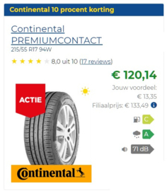 215/55 r17 Continental ContiPremiumContact 2  94w