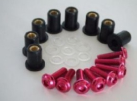 kuipruitboutjes alu rood 5x boutjes/wellnuts/ringen nylon